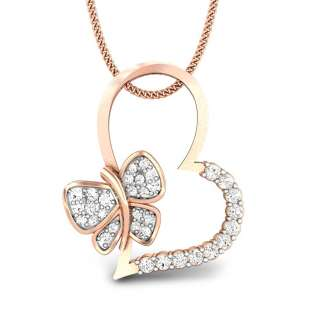 Fluttering Heart Butterfly Diamond Pendant